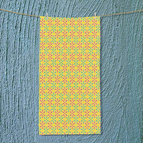 SOCOMIMI Fast Dry Towel Polka Dots Triangles in Various Tones Embellished Pattern Seafoam Yellow Baby Pink Excellent Water Absorbent Antistatic