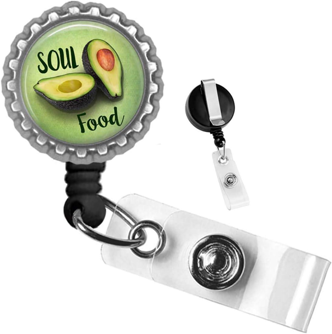 Soul Food Avocado Silver Badge Reel Retractable ID Tag by Geek Badges