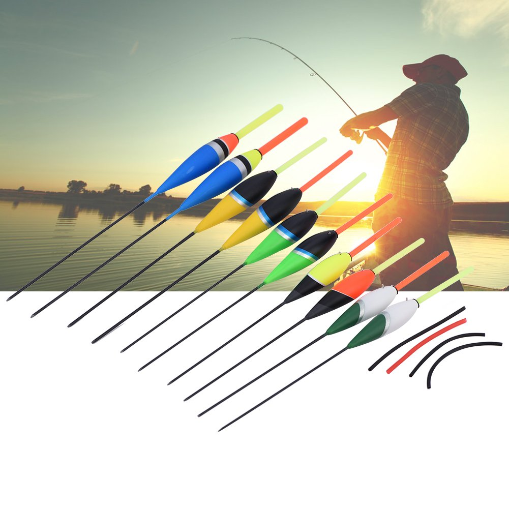 Fishing Floats,Asixx Colorful Fishing Carp Floats or Fishing Bobbers Suitable for Use on Saltwater and Freshwater Contains 10pcs Floats with 4 Colours