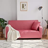 Sofa Slipcovers 3 Seater Sofa Cover Printed Sofa Protector Covers for Arm Chair Fitted Leather Couch (Agate red,1 Seater…
