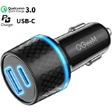 USB C PD Car Charger,QGeeM 36W 2 Port Fast Car Charger with Power Delivery & Quick Charge 3.0 Compatible with iPad Pro 2020,iPhone,MacBook and More,Car Charger Adapter