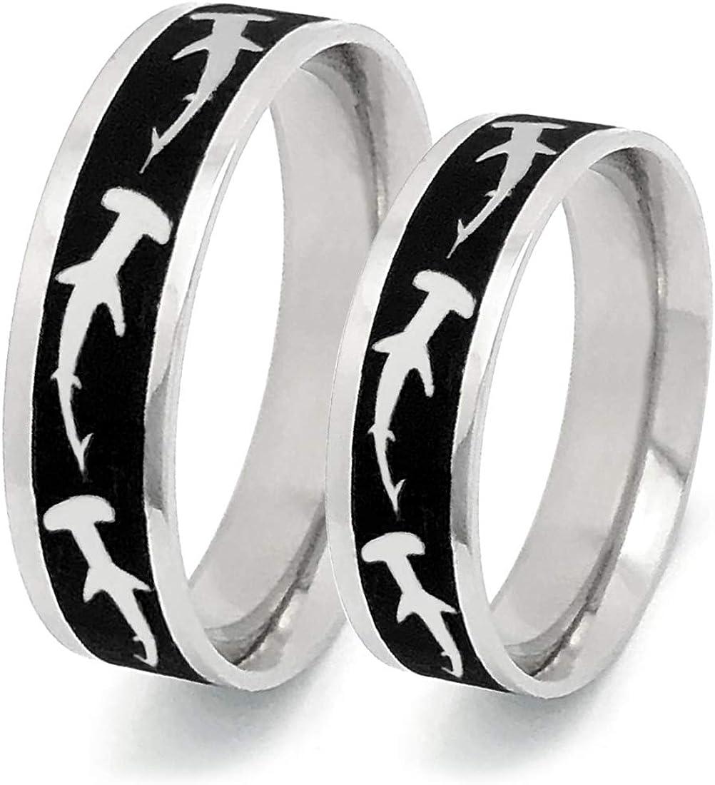 Kriskate & Co. Shark Ring Hammer Head Personalized Stainless Steel Ring for Men and Women Wedding Band Ring SSR775