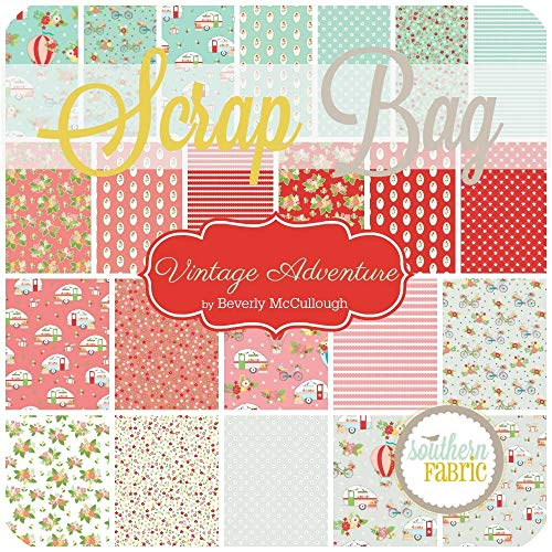 Riley Blake Vintage Adventure Scrap Bag (Approx 2 Yards) by Beverly McCullough 2 Yards of Fabric (at Least 8 Pieces) 2 to 17 inch Strips DIY Quilt Fabric (Beverly Fabrics)