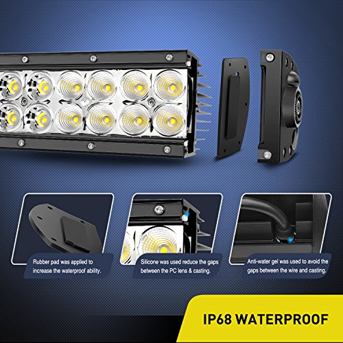 "Nilight 22"" 120w LED Light Bar Flood Spot Combo Work Light Driving Lights Fog Lamp Offroad Lighting for SUV Ute ATV Truck 4x4 Boat,2 Years Warranty"