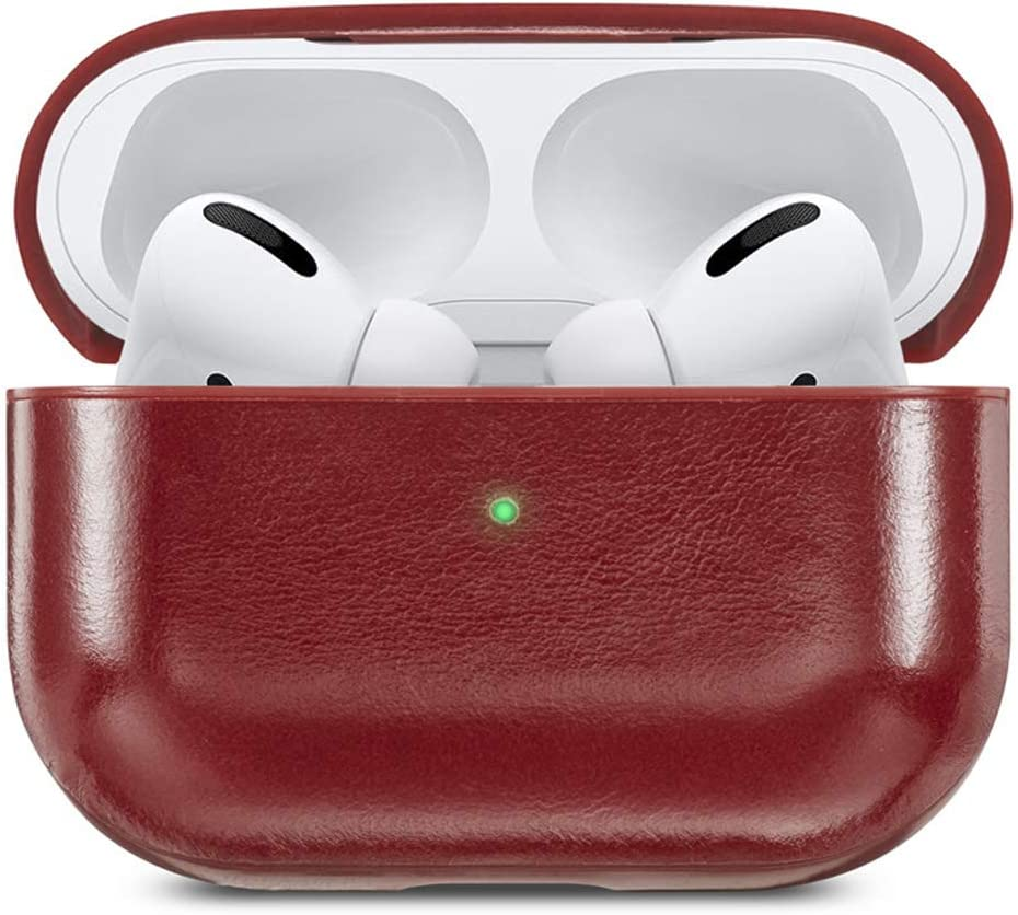 Leather Case Compatible for Apple AirPods Pro, AirPods Pro Genuine Leather Case Cover, Apple Earpods Pro Case Cover LED Visible Wireless Charing Available (Red)