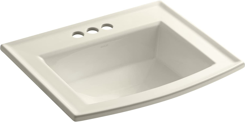 Kohler 2356-4-47 Vitreous china Drop-In Rectangular Bathroom Sink, 25.5 x 21.5 x 10.125 inches, Almond