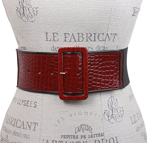 Ladies High Waist Piping Edge Croco Print Patent Leather Fashion Stretch Belt Color: Red Size: M/L 30-36