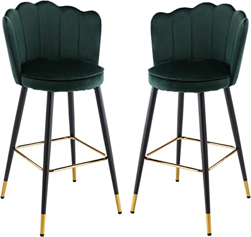 CIMOTA Bar Stools Set of 2 Velvet Modern Kitchen Barstool