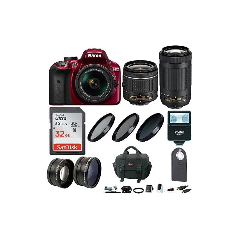 Nikon D3400 DSLR Camera (Red) w/ 18-55mm