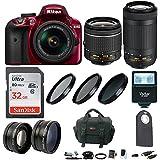 Nikon D3400 DSLR Camera (Red) w/18-55mm & 70-300mm Lenses & Accessory Bundle