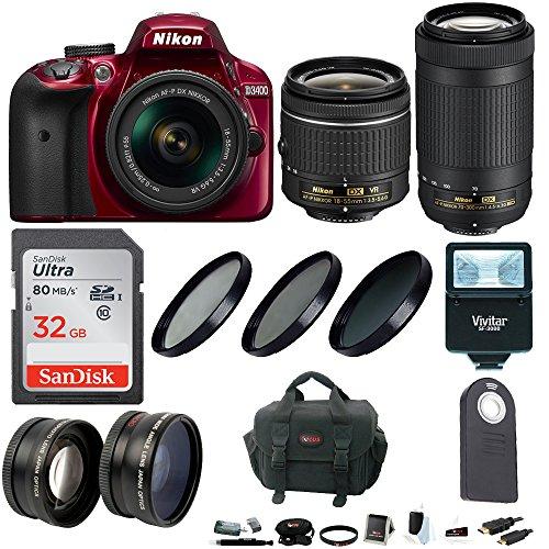 Nikon D3400 DSLR Camera  & 18-55 & 70-300 + Wide & Tele Lens