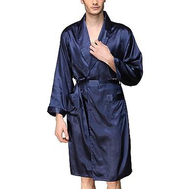 64e20d234b Lu s Chic Men s Satin Kimono Robe Long Sleeves Shorts Loungewear Spa  Pockets Luxury Bathrobe Blue US