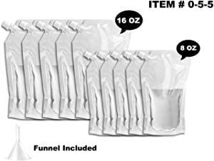 Cruise Liquor Flask Kit For Travel,Concealable And Reusable Rum Runner Alcohol Juice Travel Plastic Liquor Bags For Sneak Drink- 5 x 16 oz + 5 x 8 oz + 1 funnel (055 FlaskKit)