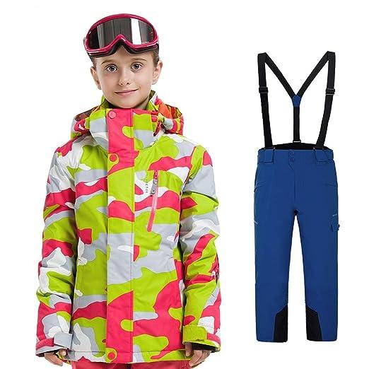 Sumferkyh Traje de Esquiar Traje de Nieve para niños, Impermeable ...