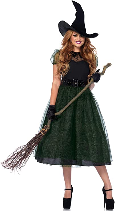1940s Costumes- WWII, Nurse, Pinup, Rosie the Riveter Leg Avenue Womens Classic Darling Spellcaster Witch Halloween Costume $59.99 AT vintagedancer.com