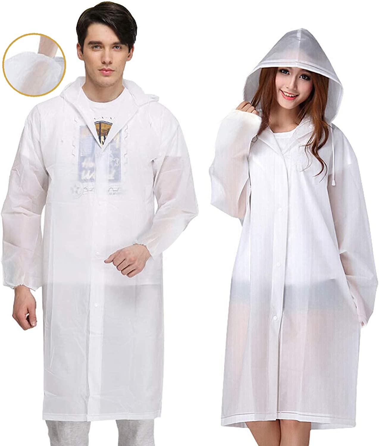 Details about  /RHUTQP Adult Portable Raincoat Rain Poncho with Hoods and Sleeves
