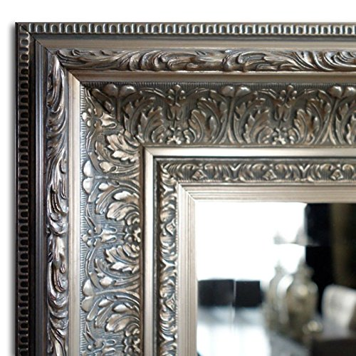 West Frames Elegance Ornate Embossed Wood Framed Wall Mirror (23'' x 27'', Antique Silver) by West Frames