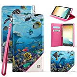 zte reef phone accessories - ZTE Max XL, N9560, Blade Max 3, Z986U, Slim Dual Layer Hybrid Synthetic Leather Magnetic Closure Flip Wallet Cover With Built in kickstand Card Slot Detachable Wrist Strap Dolphins Reef Sea World