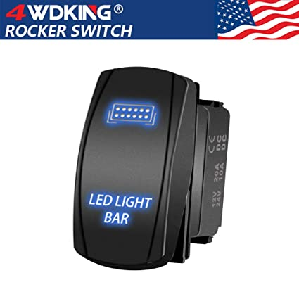 LED Light Bar Rocker Switch - 4WDKING Momentary On/Off Push Button Toggle  Switch with Jumper Wire 5 Pins Blue LED Lights 20A 12V  (Blue Light - LJ34)