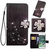 Find box for Cubot R9 Case, [Flower Bling Embossing][Wallet Stand] [Flower Embossing] Protective Phone Bling Case Leather Protective Flip Wallet Case for Cubot R9 Black