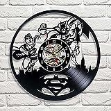Superman VS Batman Art Vinyl Wall Clock Gift Room Modern Home Record Vintage Decoration Review