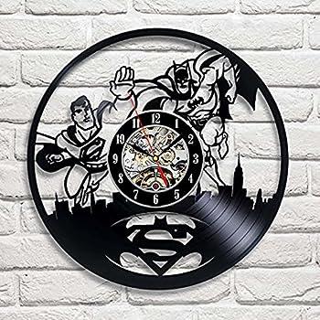 Superman VS Batman Art Vinyl Wall Clock Gift Room Modern Home Record Vintage Decoration