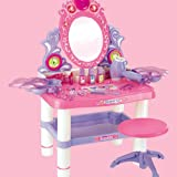 Dressing Table For Girls With Mirror,Hamkaw Princess Dressing Table Pretend Play Kids Vanity Table And Chair With Flashing Lights,Mirror,Working Hair Dryer,Lipstick,Ring Etc.