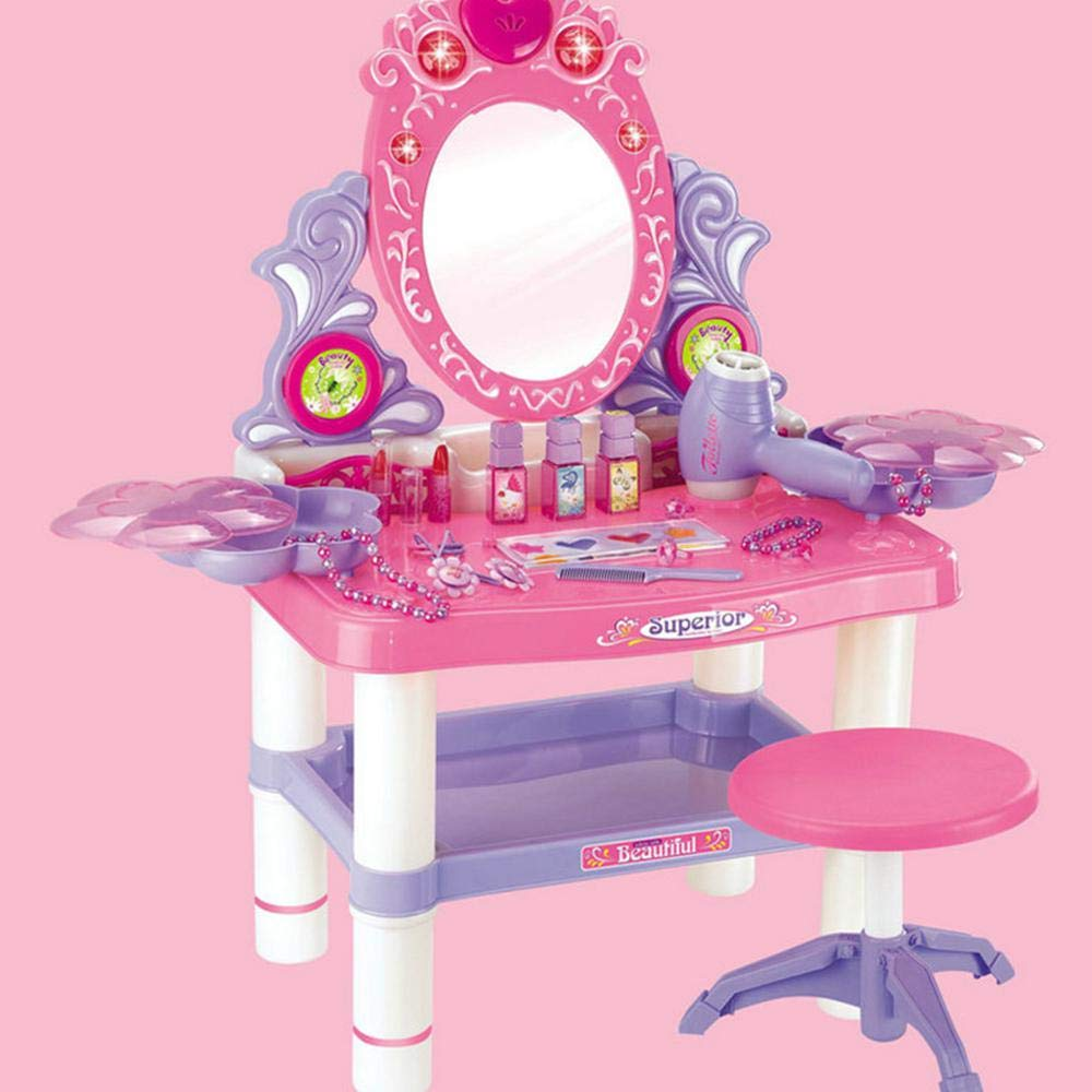 Hamkaw Dressing Table for Girls with Mirror, Princess Dressing Table Pretend Play Kids Vanity Table and Chair with Flashing Lights,Mirror,Working Hair Dryer,Lipstick,Ring Etc.