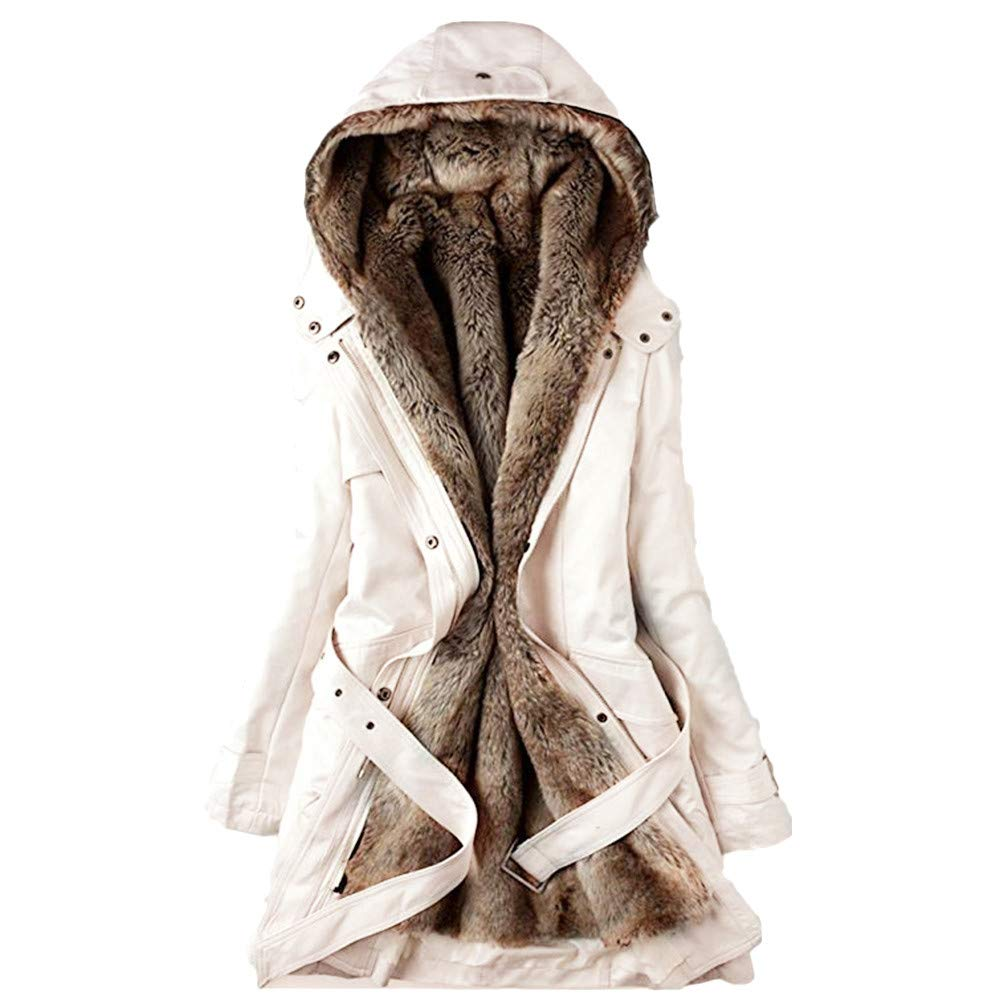 Wokasun.JJ Ladies Fur Lining Coat Womens Winter Warm Thick Long Jacket Hooded Parka Beige XL
