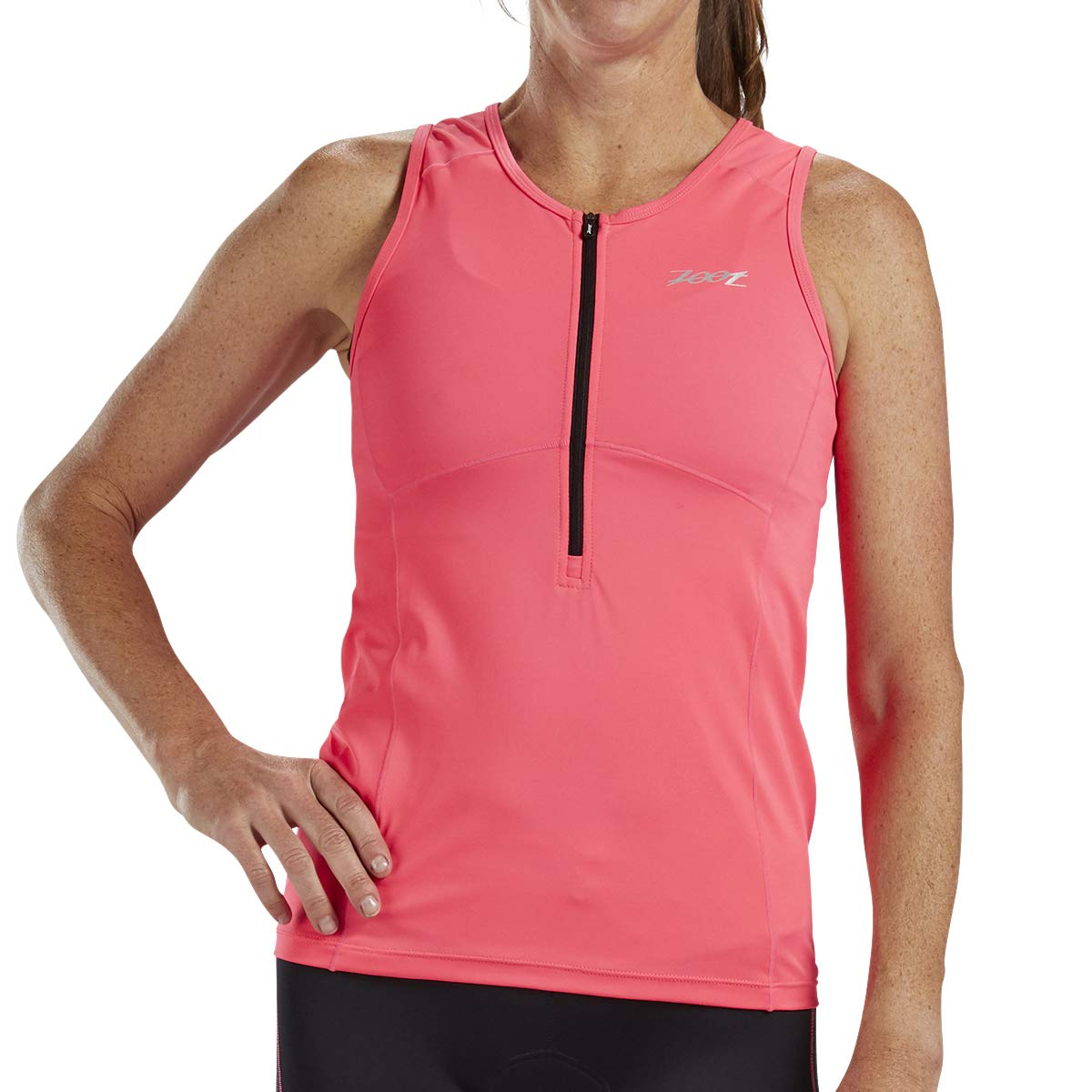 Zoot Women's Core Tri Tank - Performance Triathlon Top with Mesh Panels and 3 Pockets (Blush, X Small)