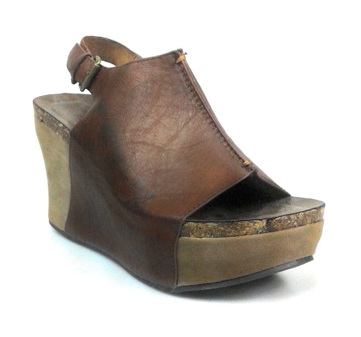 Pierre Dumas Hester-14 Women's Vegan Leather Peep-Toe Adjustable Ankle Strap Wedge Sandals (8 B(M) US, Whiskey)