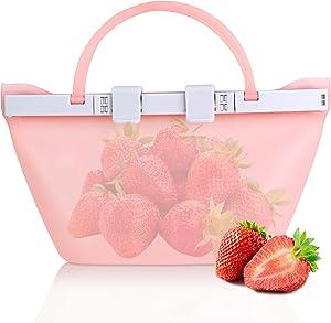 SANEIYA Reusable Silicone Food Storage Bags, Portable Leak-proof Silicone Reusable Food Bag For Refrigerator, Standable Silicone Bags For Food Storage, Dishwasher Safe, Eco-friendly (1000ml)