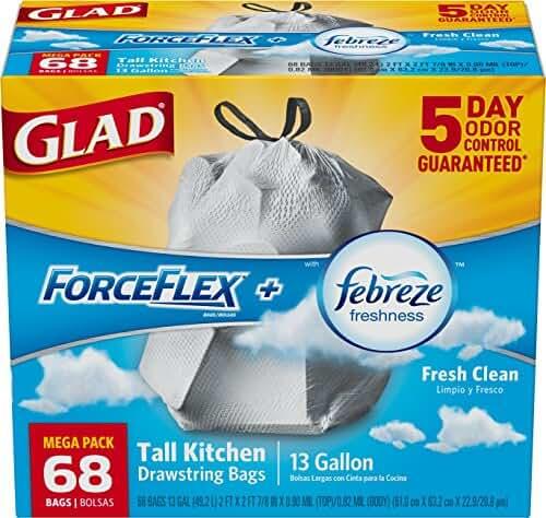 Glad ForceFlex Drawstring Tall Kitchen Trash Bags, 13 Gallon, Fresh Clean, 68 Count