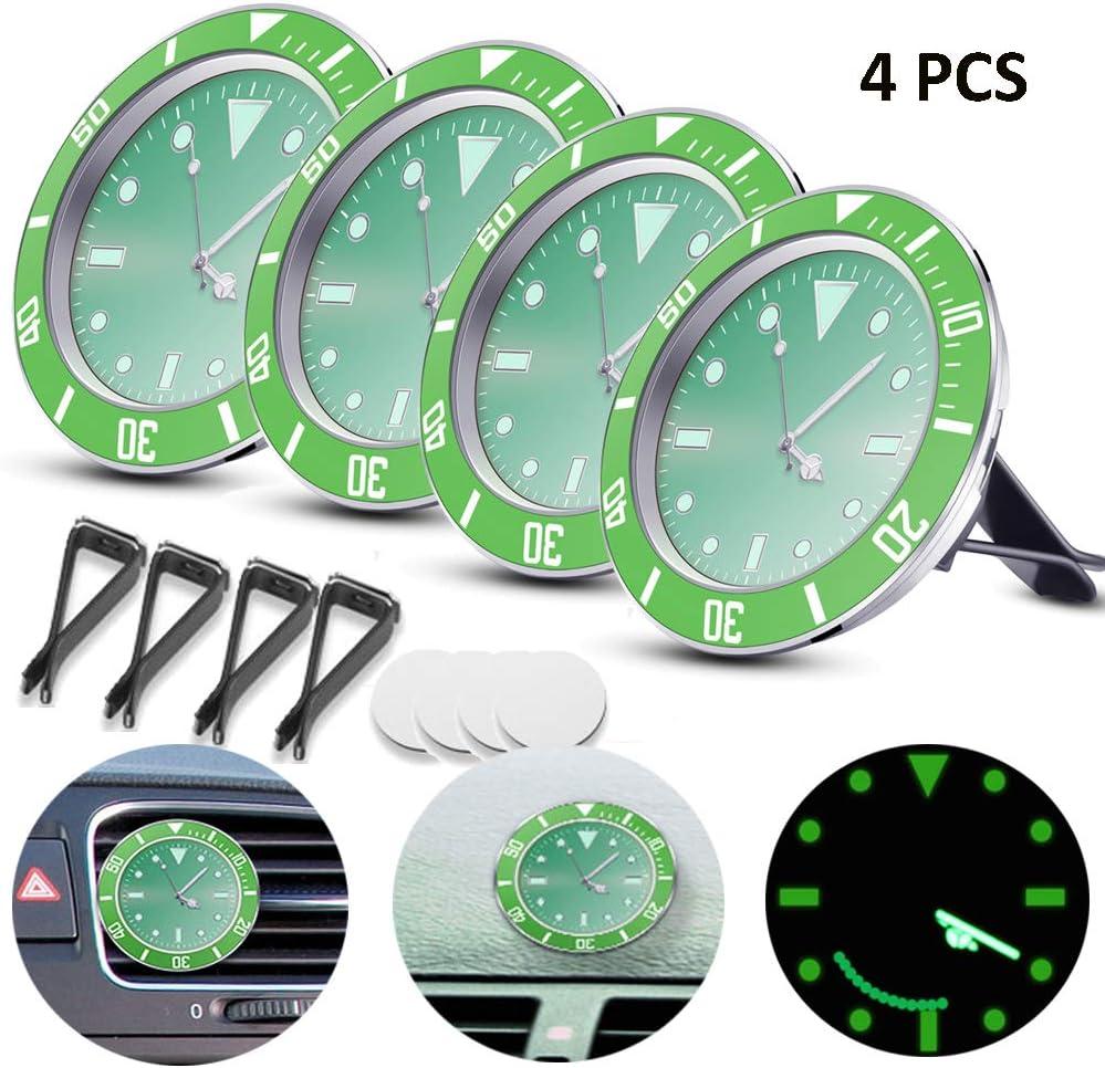 5/×5cm Car Air Vent Clock Automobile Quartz Clock Car Decoration Clock Car Dashboard Clock Luminous in Night with 3M Sticker ALLOMN Car Clock 4 PCS, Black
