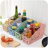 Rumiday 可叠加立体雕花镂空厨房收纳盒(3个装)多款颜色随机搭配 宫廷风桌面文件杂物收纳筐