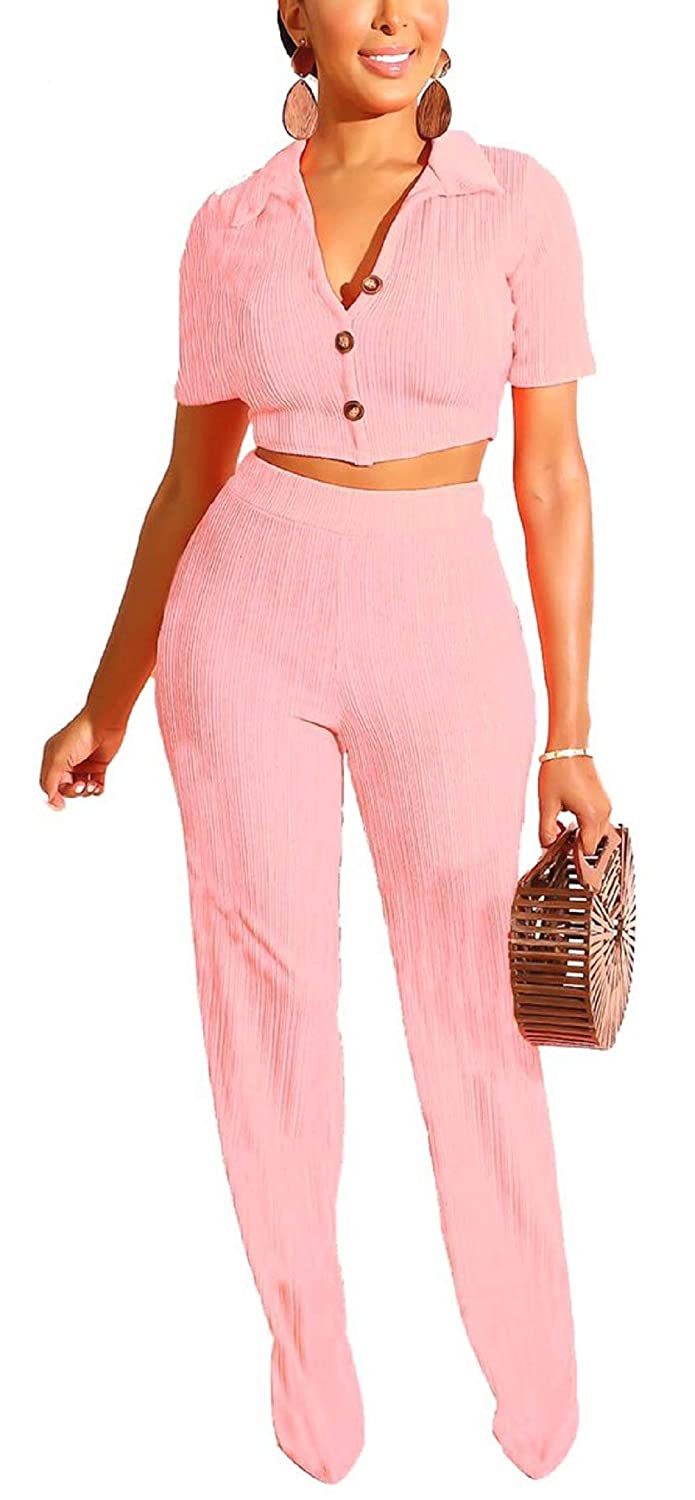Womens V Neck Short Sleeve Button Down Crop Top High Waist Long Pants Rib Solid Color 2 Piece Outfits Casual Set