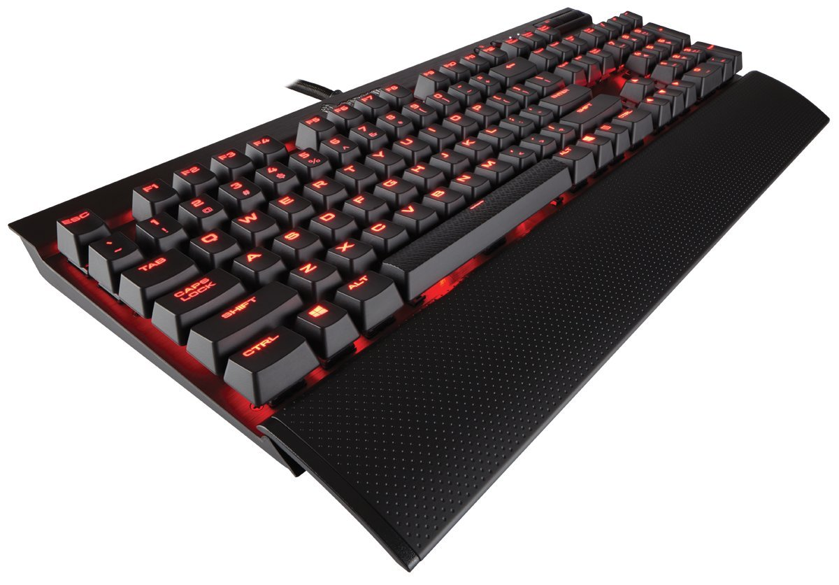 CORSAIR K70 LUX Mechanical Gaming Keyboard - Backlit Red LED - USB Passthrough & Media Controls - Tactile & Clicky - Cherry MX Blue