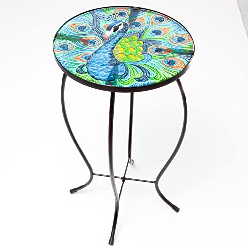 Bits and Pieces – Indoor Outdoor 20 Inch Tall Peacock Glass Top Table – Perfect Side Table for Your Home or Garden