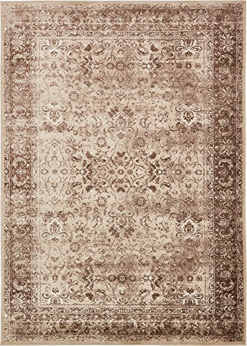 Unique Loom Imperial Collection Modern Traditional Vintage Distressed Cream Area Rug (8' 0 x 11' 6) (Brown And Cream Rug)