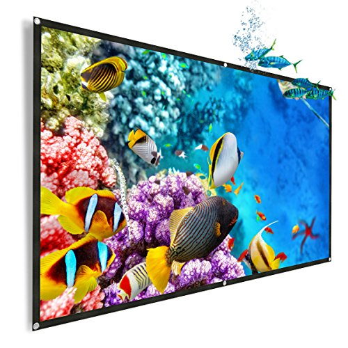 OWLENZ 100- inch 16:9 Portable Projector Screen Simple Wall Mounted Front & Rear Window Projection Screen Flexible Cloth Indoor Outdoor Backyard Theater Suitable for (When Is Halloween Movie On Tv)