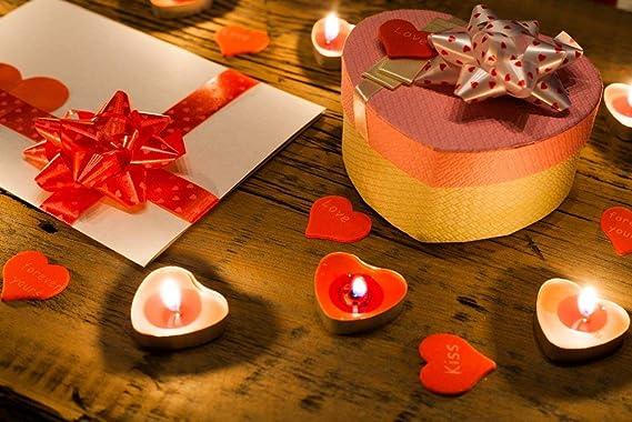 Lot de 9 bougies en forme de fleur rouge pour la Saint-Valentin anniversaire fleur noire porte-bougies en cochons blanc /étui noir