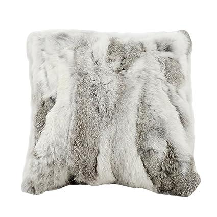 Amazon Duoduo Fur Real Rabbit Fur Decoration Throw Pillow Case Delectable Rabbit Fur Pillow Cover