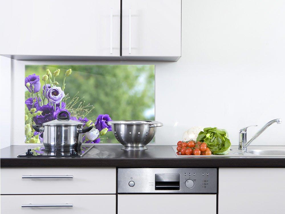 GRAZDesign 200112_60x40_SP Spritzschutz Glas für Küche/Herd | Bild-Motiv Blumenstrauß in Lila | Küchenrückwand Küchenspiegel Glasrückwand (60x40cm)