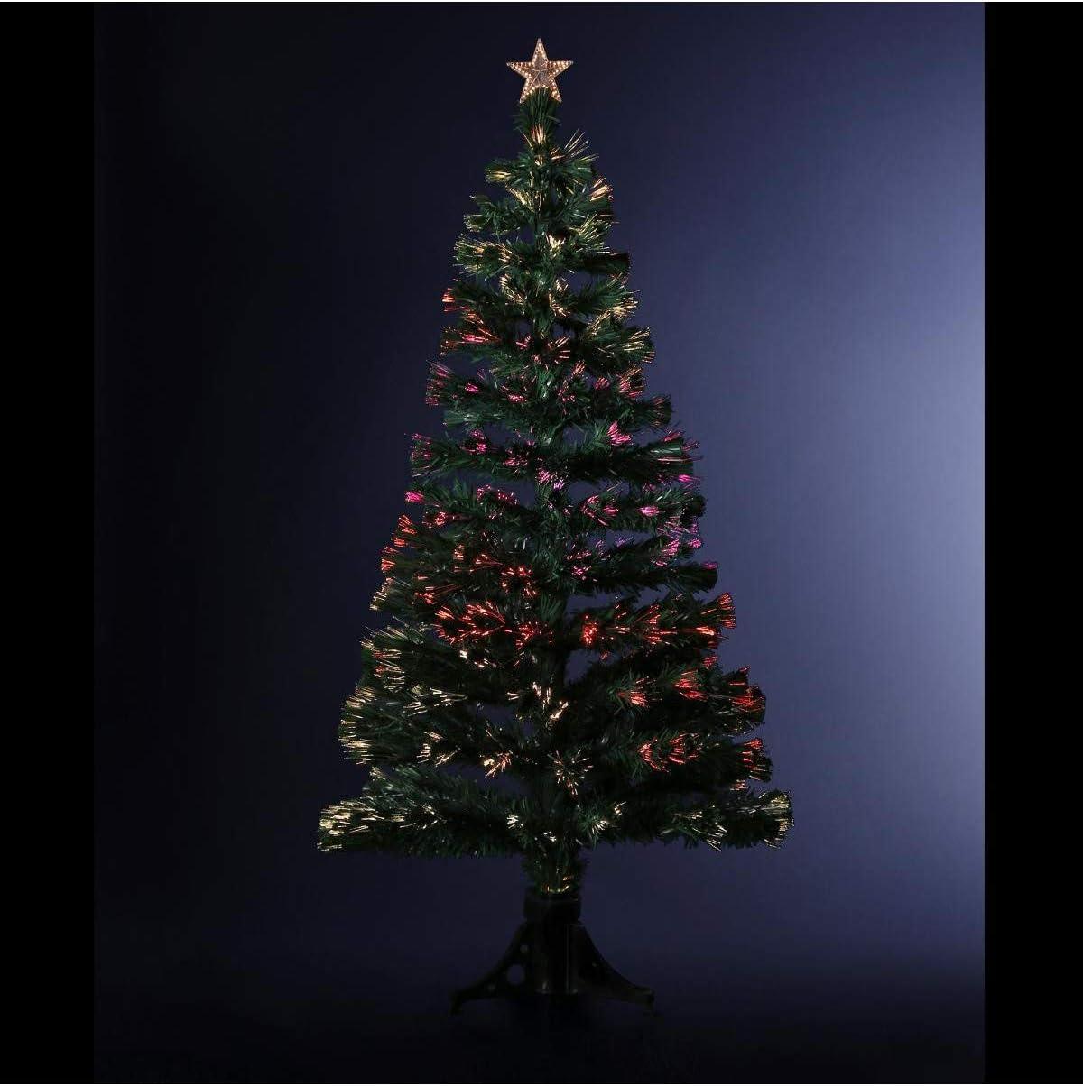 FEERIC LIGHTS & CHRISTMAS DECORACIÓN Navidad - Arbol de Navidad Artificial de Fibra óptica + 88 Ramas con Variación Luminosa- Entregado con su pie - Alto 90 cm - Color Verde: Amazon.es: Hogar