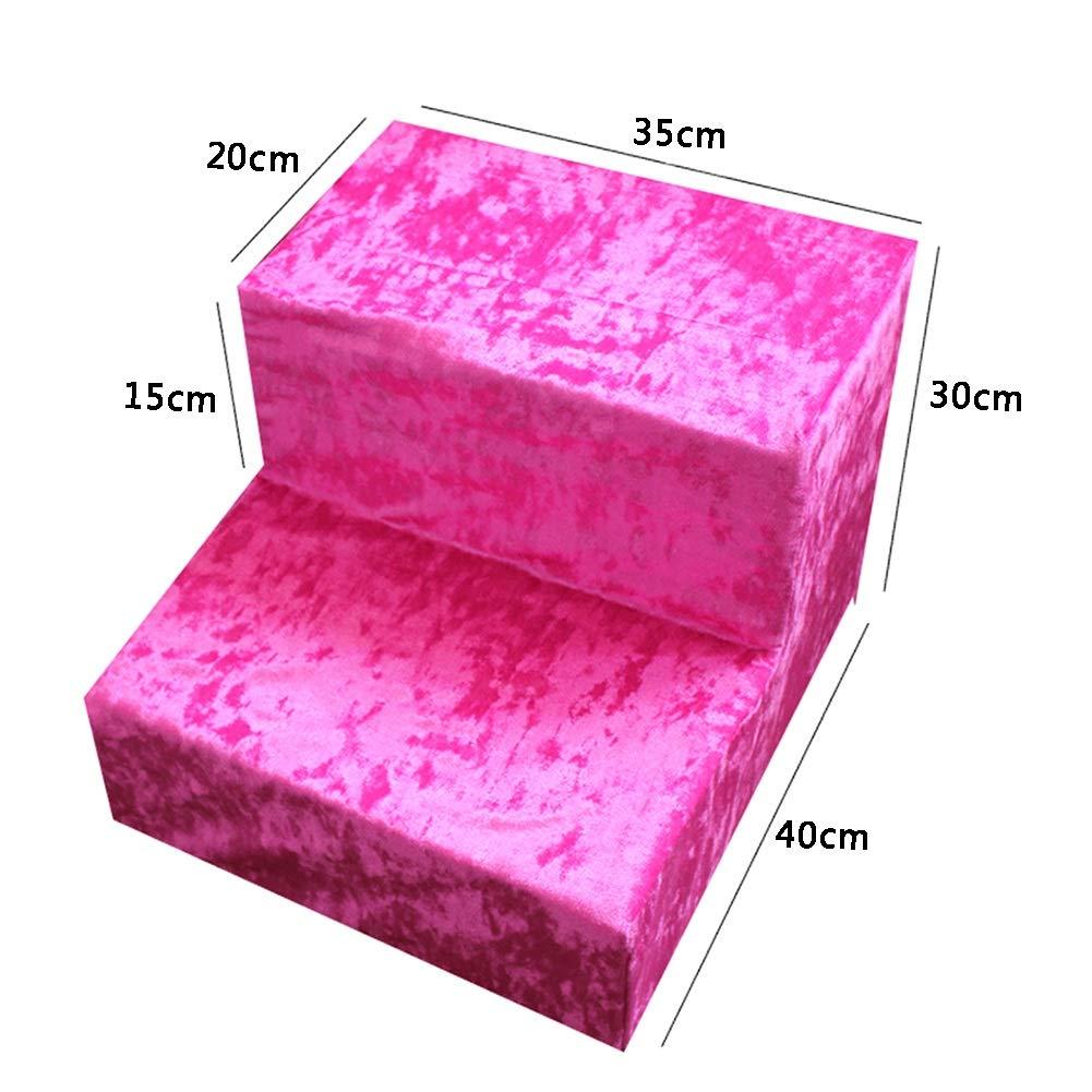 Scale Scale Scale Pet- rosa Scale di Gatto, 2 Step Pet Ladder per Cani di Piccola Taglia al Divano, Letto, Soggiorno, Extra Largo Nucleo Interno Spugna 4785d3