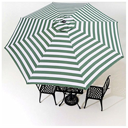 8FT Umbrella Replacement Canopy 8 Rib Outdoor Patio Top Cover Only Opt (8FT GREEN AND WHITE STRIPE)