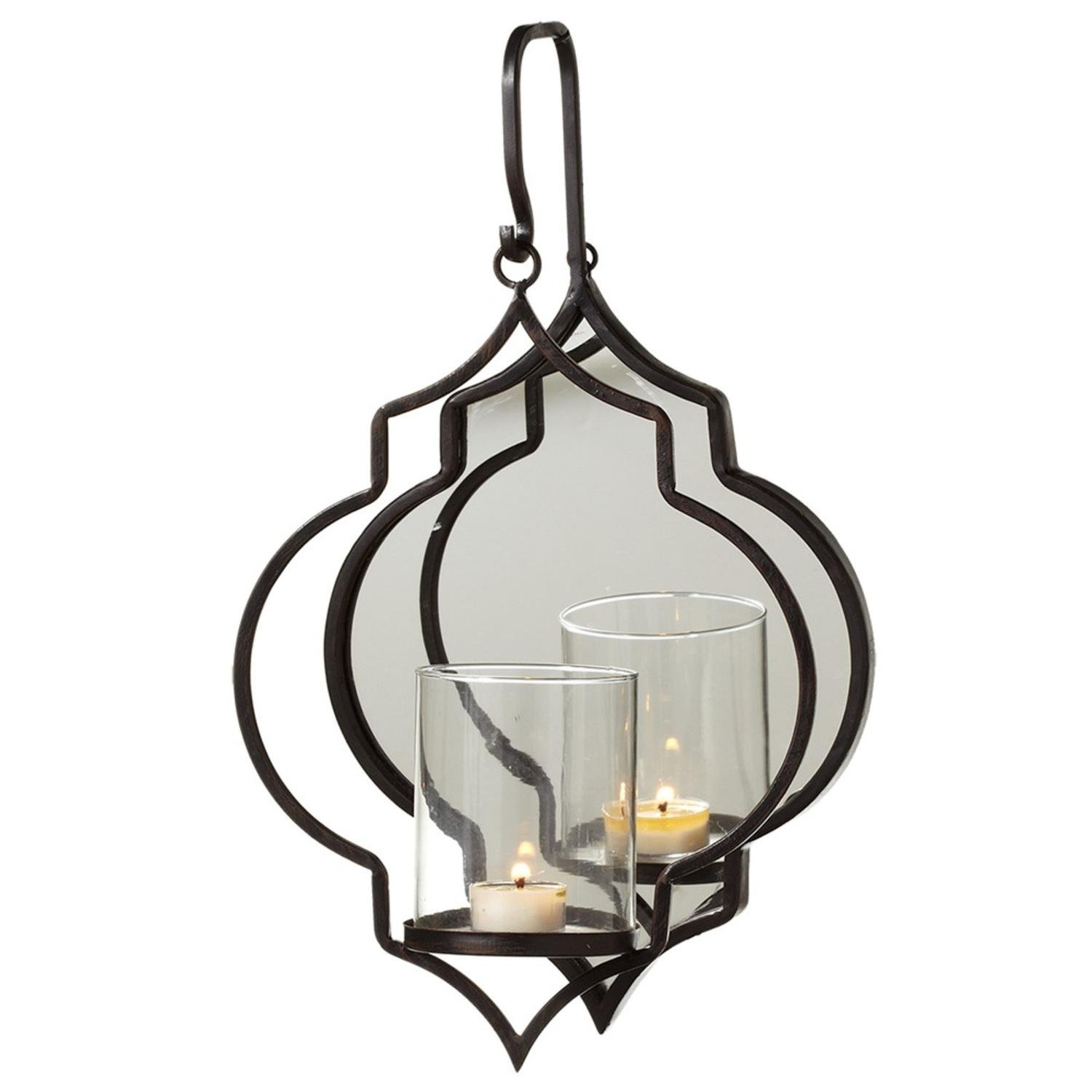 Diva At Home Dark Brown Curly Hanging Single Tealight Holder with Oval Mirror 17''