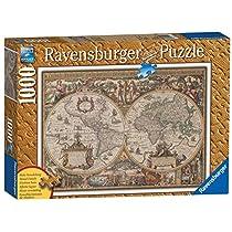 Ravensburger 19004 - Puzzle de 1000 piezas imitación madera, diseño de mapa del mundo antiguo