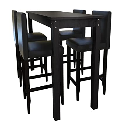 Amazon Table De Cuisine.Vidaxl Jeu De 1 Table De Bar Et 4 Tabourets Noir Meubles