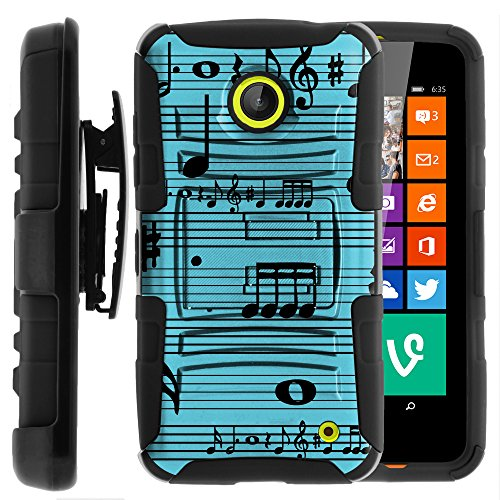 Nokia Lumia 635 Case, Nokia Lumia 630 Case, Two Layer Hybrid Armor Hard Cover with Built in Kickstand and Holster Belt Clip for Nokia Lumia 635, 630 (AT&T, Sprint, T Mobile, Cricket, Virgin Mobile, Boost Mobile, MetroPCS) from MINITURTLE | Includes Screen Protector - Musical Blues